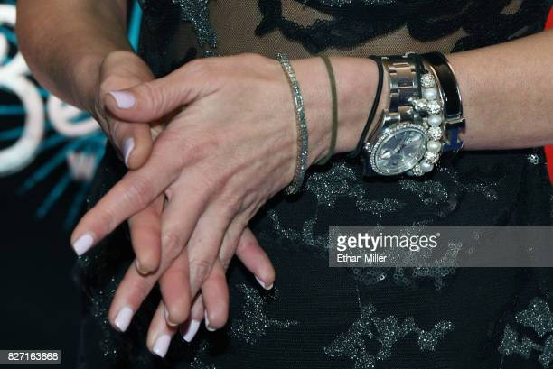 Actress Tara Reid watch jewelry details attends the premiere of 'Sharknado 5 Global Swarming' at The LINQ Hotel Casino on August 6 2017 in Las Vegas...