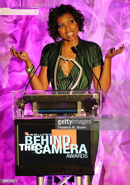 Actress Taraji Henson speaks during Hollywood Life's Behind the Camera Awards at The Highlands on November 9 2008 in Hollywood California