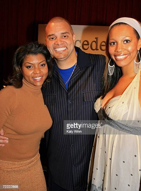 Actress Taraji P Henson Actor Sinbad and his wife Meredith Adkins attend Mercedes Benz Fashion Week at Smashbox Studios on October 19 2006 in Culver...