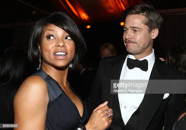 Actress Taraji P Henson and actor Brad Pitt attend the after party for the premiere of Paramount Pictures' The Curious Case of Benjamin Button on...