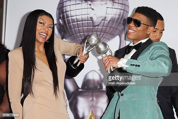 Actress Taraji P Henson and actor Bryshere Y Gray pose in the press room during the 47th NAACP Image Awards presented by TV One at Pasadena Civic...