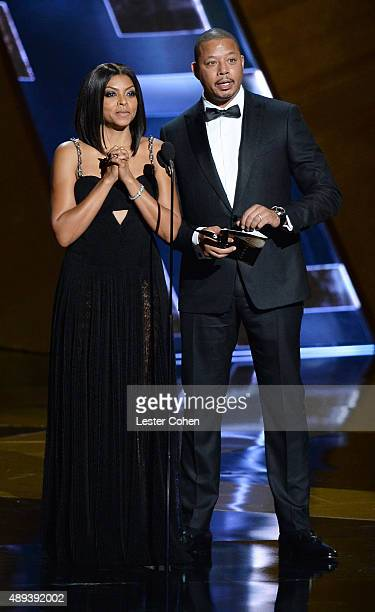 Actress Taraji P Henson and actor Terrence Howard speak onstage during the 67th Annual Primetime Emmy Awards at Microsoft Theater on September 20...