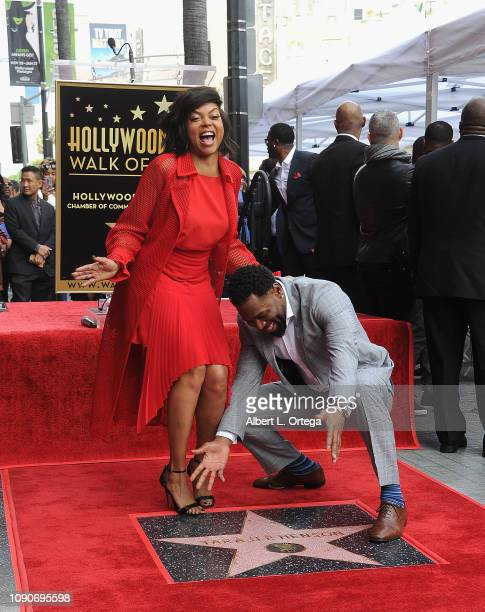 Actress Taraji P Henson and fiance/former NFL player Kelvin Hayden attend the ceremony honoring Taraji P Henson with a star on The Hollywood Walk of...