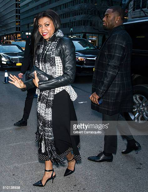 Actress Taraji P. Henson and Kevin Hayden are seen outside the Alexander Wang Fall 2016 fashion show during New York Fashion Week at St....