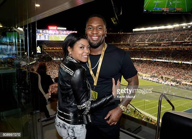 Actress Taraji P Henson and NFL player Kelvin Hayden attend Super Bowl 50 at Levi's Stadium on February 7 2016 in Santa Clara California