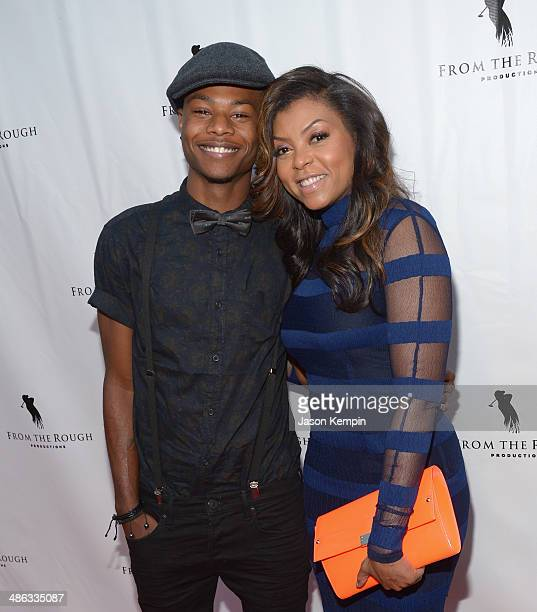 Actress Taraji P Henson and son Marcel Henson attend the screening of From The Rough at ArcLight Cinemas on April 23 2014 in Hollywood California
