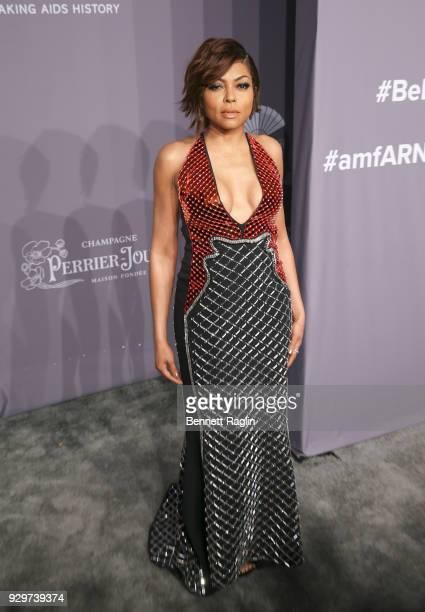 Actress Taraji P Henson attends the 2018 amfAR Gala New York at Cipriani Wall Street on February 7 2018 in New York City