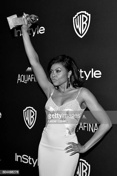 Actress Taraji P Henson attends the InStyle and Warner Bros 73rd Annual Golden Globe Awards PostParty held at the Beverly Hilton Hotel on January 10...