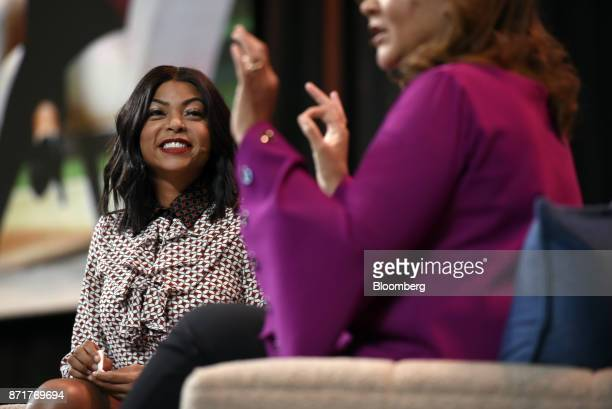 Actress Taraji P Henson left smiles while Michele Norris director of the Bridge program at The Aspen Institute Inc speaks during the Dreamforce...