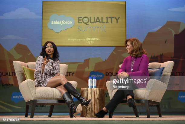 Actress Taraji P Henson left speaks while Michele Norris director of the Bridge program at The Aspen Institute Inc listens during the Dreamforce...