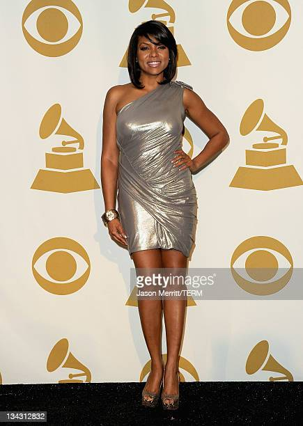 Actress Taraji P Henson poses in media room at The GRAMMY Nominations Concert Live Countdown to Music's Biggest Night at Nokia Theatre LA Live on...