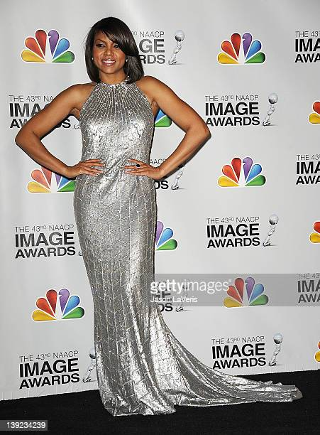 Actress Taraji P Henson poses in the press room at the 43rd annual NAACP Image Awards at The Shrine Auditorium on February 17 2012 in Los Angeles...