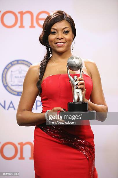 Actress Taraji P Henson poses in the press room during the 46th NAACP Image Awards presented by TV One at Pasadena Civic Auditorium on February 6...