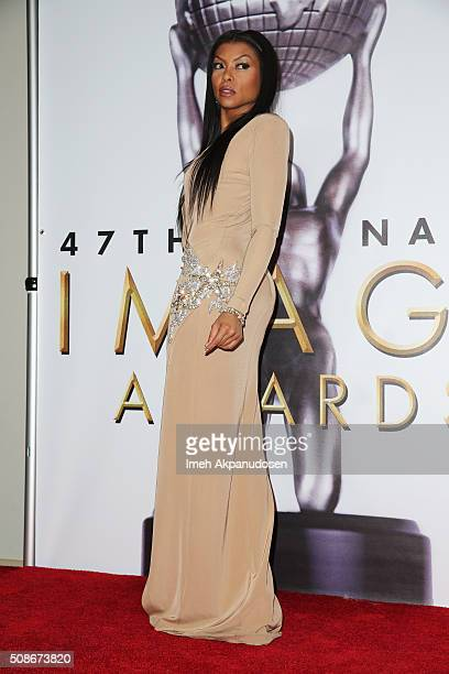 Actress Taraji P. Henson poses in the press room during the 47th NAACP Image Awards presented by TV One at Pasadena Civic Auditorium on February 5,...