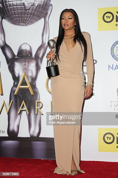 Actress Taraji P. Henson poses with the Outstanding Actress in a Drama Series award in the press room during the 47th NAACP Image Awards presented by...