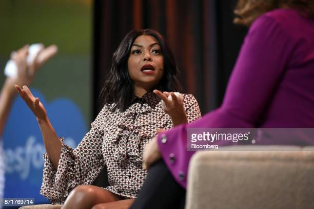 Actress Taraji P Henson speaks during the Dreamforce Conference in San Francisco California US on Wednesday Nov 8 2017 DreamforceSalesforcecom's big...