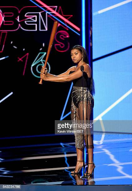 Actress Taraji P Henson speaks onstage during the 2016 BET Awards at the Microsoft Theater on June 26 2016 in Los Angeles California