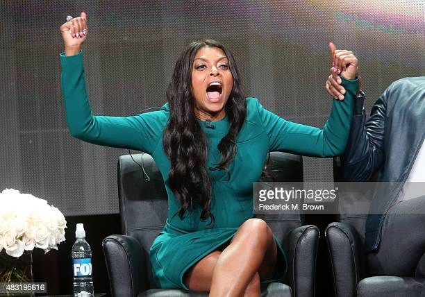 Actress Taraji P. Henson speaks onstage during the 'Empire' panel discussion at the FOX portion of the 2015 Summer TCA Tour at The Beverly Hilton...