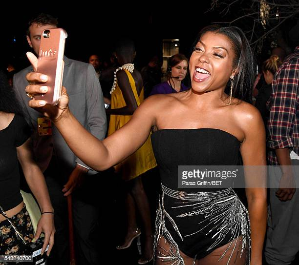 Actress Taraji P Henson takes a selfie during the 2016 BET Awards at the Microsoft Theater on June 26 2016 in Los Angeles California