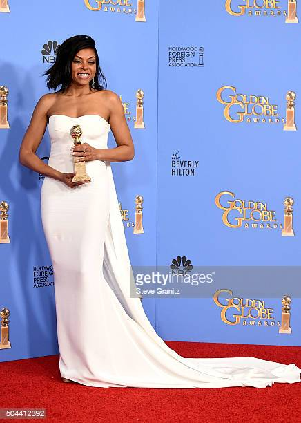 """Actress Taraji P. Henson, winner of the award for Best Performance by an Actress In A Television Series - Drama for """"Empire,"""" poses in the press room..."""