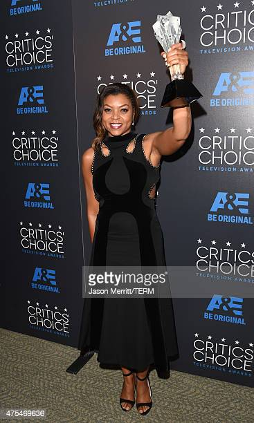 """Actress Taraji P. Henson, winner of the Best Actress in a Drama Series award for """"Empire"""", poses in the press room at the 5th Annual Critics' Choice..."""