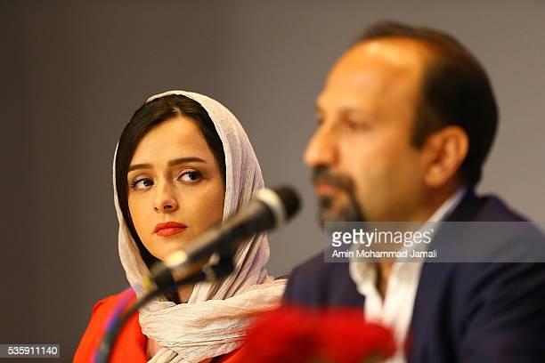 Actress Taraneh Alidoosti looks on during Director Asghar Farhadi and Actor Shahab Hosseini Press Conference the on May 30 2016 in Tehran Iran
