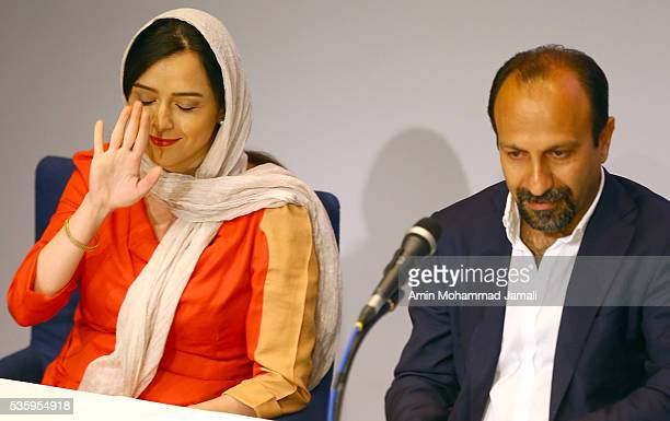 Actress Taraneh Alidousti and Director Asghar Farhad look on during Director Asghar Farhadi and Actor Shahab Hosseini Press Conference the on May 30...