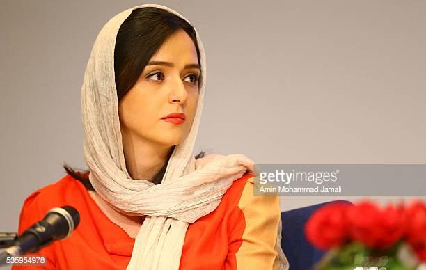 Actress Taraneh Alidousti looks on during Director Asghar Farhadi and Actor Shahab Hosseini Press Conference the on May 30 2016 in Tehran Iran