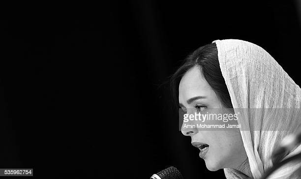 Actress Taraneh Alidousti speaks during the Director Asghar Farhadi and Actor Shahab Hosseini Press Conference on May 30 2016 in Tehran Iran