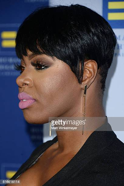 Actress Ta'Rhonda Jones earring detail arrives at the Human Rights Campaign 2016 Los Angeles Gala Dinner at JW Marriott Los Angeles at LA LIVE on...