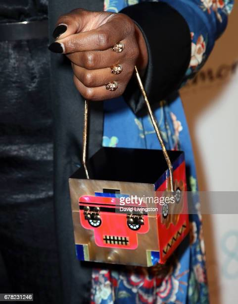 Actress Ta'Rhonda Jones purse detail attends the premiere party for Circle 8 Production's 'This Is LA' at Yamashiro Hollywood on May 3 2017 in Los...