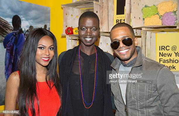 Actress Tashiana Washington model Nykhor Paul and Eric West attends IRC Fashion Week PopUp and Photo Exhibition at Empire Hotel on February 14 2015...