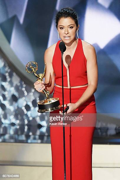 Actress Tatiana Maslany accepts Outstanding Lead Actress in a Drama Series for 'Orphan Black' onstage during the 68th Annual Primetime Emmy Awards at...