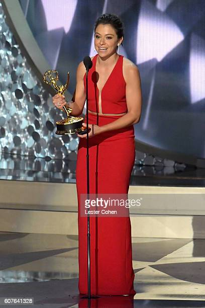 Actress Tatiana Maslany accepts the Oustanding Lead Actress in a Drama Series award for 'Orphan Black' onstage during the 68th Annual Primetime Emmy...