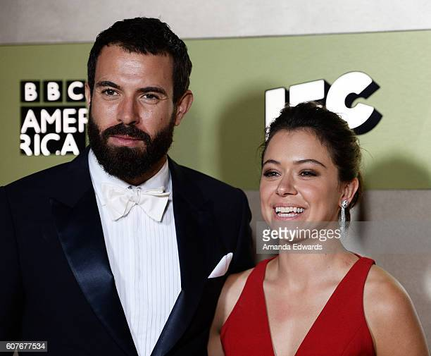 Actress Tatiana Maslany and actor Tom Cullen arrive at the AMC Networks' 68th Primetime Emmy Awards AfterParty Celebration at BOA Steakhouse on...