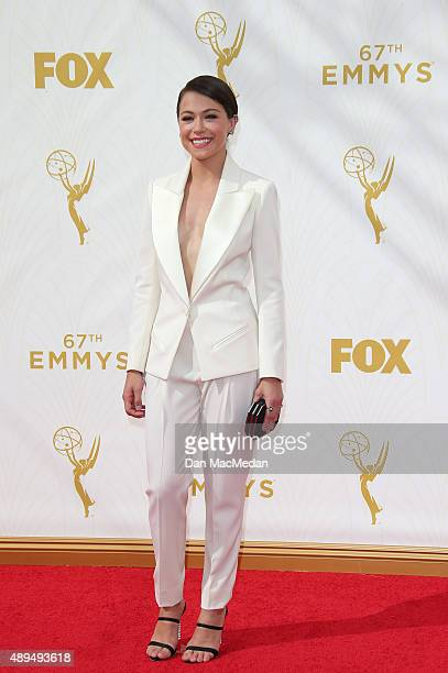 Actress Tatiana Maslany arrive at the 67th Annual Primetime Emmy Awards at the Microsoft Theater on September 20 2015 in Los Angeles California