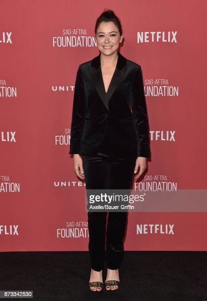 Actress Tatiana Maslany arrives at SAGAFTRA Foundation Patron of the Artists Awards 2017 on November 9 2017 in Beverly Hills California
