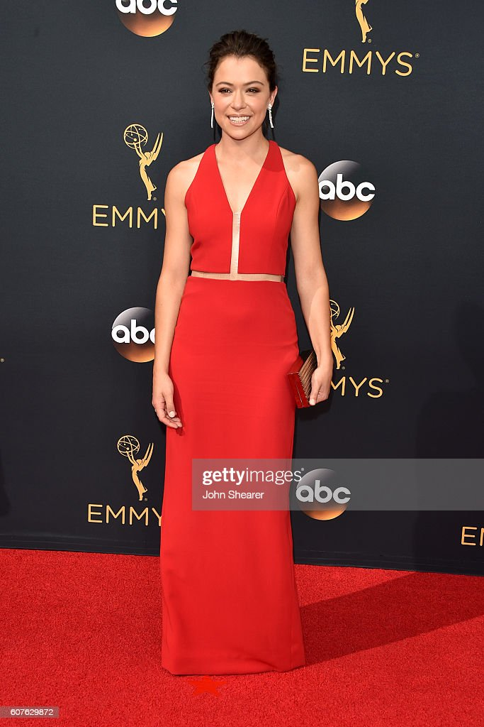 Actress Tatiana Maslany arrives at the 68th Annual Primetime Emmy Awards at Microsoft Theater on September 18, 2016 in Los Angeles, California.