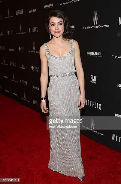 Actress Tatiana Maslany attends The Weinstein Company Netflix's 2014 Golden Globes After Party presented by Bombardier FIJI Water Lexus Laura Mercier...