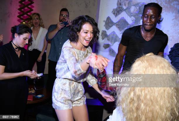 Actress Tatiana Maslany dances at BBC AMERICA's Orphan Black Premiere Party at Vandal on June 6 2017 in New York City