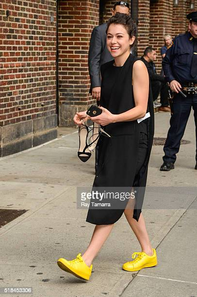 Actress Tatiana Maslany enters 'The Late Show With Stephen Colbert' taping at the Ed Sullivan Theater on March 31 2016 in New York City