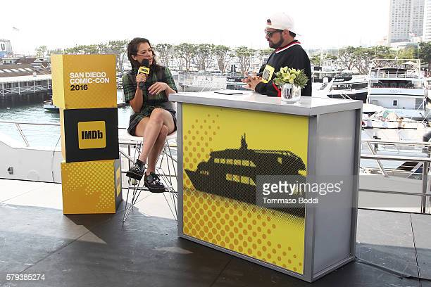 Actress Tatiana Maslany of Orphan Black and host Kevin Smith attend the IMDb Yacht at San Diego ComicCon 2016 Day Three at The IMDb Yacht on July 23...