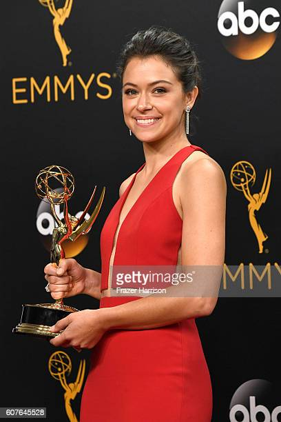 Actress Tatiana Maslany winner of Best Actress in a Drama Series for 'Orphan Black' poses in the press room during the 68th Annual Primetime Emmy...