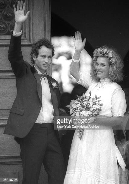Actress Tatum O'Neal and fourtime Wimbledon champion John McEnroe wave to crowd after they were married at St Dominic's Catholic Church in Oyster Bay...