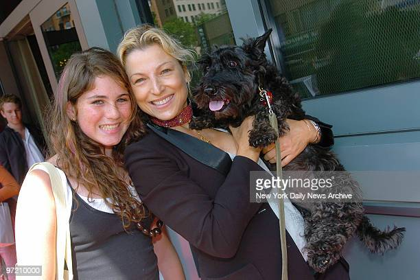 Actress Tatum O'Neal, daughter Emily and their dog, Lena, attend a fourth birthday party for Romeo, author Kim Hastreiter's white Dandie Dinmont...