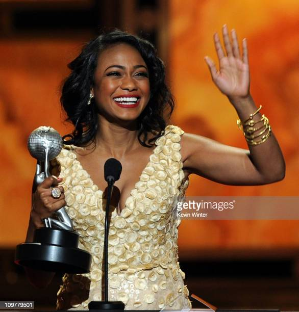 Actress Tatyana Ali accepts the award for Outstanding Actress in a Comedy Series onstage at the 42nd NAACP Image Awards held at The Shrine Auditorium...