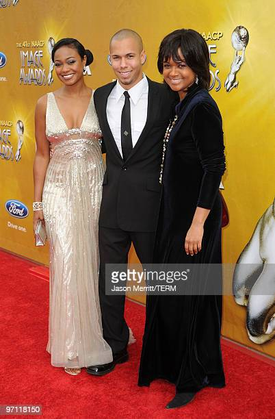 Actress Tatyana Ali actor Bryton McClure and actress Tonya Lee Williams arrive at the 41st NAACP Image awards held at The Shrine Auditorium on...