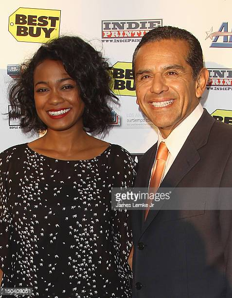 Actress Tatyana Ali and Los Angeles Mayor Antonio Villaraigosa attend the 6th annual Boyle Heights Youth Center Fundraiser held at the Boyle Heights...