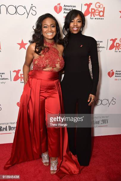 Actress Tatyana Ali and Taneasha Prunty attend the American Heart Association's Go Red For Women Red Dress Collection 2018 presented by Macy's at...