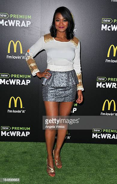 Actress Tatyana Ali attends the launch party of McDonald's Premium McWrap at Paramount Studios on March 28 2013 in Hollywood California